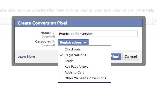 Pixel de Conversión Facebook