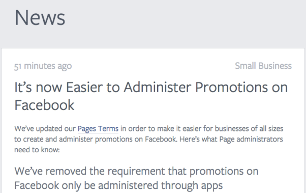 NEW promotion terms Facebook Pages